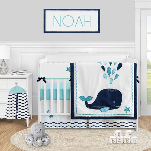 Blue Whale Baby Boy or Girl Nursery Crib Bedding Set by Sweet Jojo Designs - 5 pieces - Navy Aqua and White Ocean - Click to enlarge