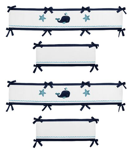 Blue Whale Baby Crib Bumper Pad by Sweet Jojo Designs - Click to enlarge