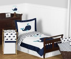 Blue Whale Boy or Girl Toddler Bedding 5pc Set by Sweet Jojo Designs