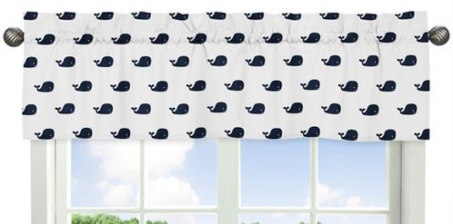 Blue Whale Collection Window Valance by Sweet Jojo Designs - Click to enlarge