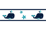 Blue Whale Kids and Baby Modern Wall Paper Border by Sweet Jojo Designs