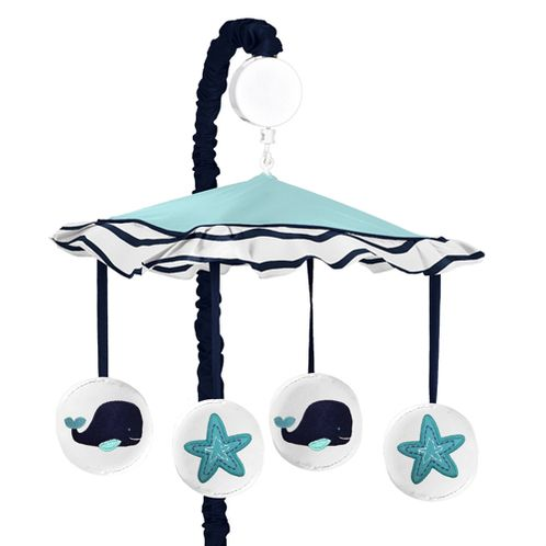 Blue Whale Musical Baby Crib Mobile by Sweet Jojo Designs - Click to enlarge