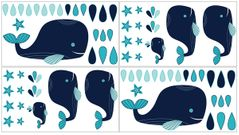 Blue Whale Peel and Stick Wall Decal Stickers Art Nursery Decor by Sweet Jojo Designs - Set of 4 Sheets