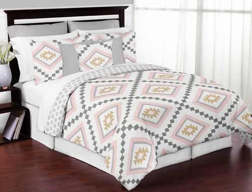 Blush Pink and Grey Boho and Tribal Aztec Girl Full / Queen Kid Childrens Teen Bedding Comforter Set by Sweet Jojo Designs - 3 pieces - Click to enlarge