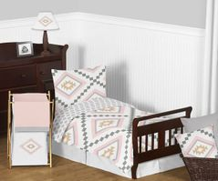 Blush Pink and Grey Boho and Tribal Aztec Girl Toddler Kid Childrens Bedding Set by Sweet Jojo Designs - 5 pieces Comforter, Sham and Sheets