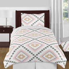 Blush Pink and Grey Boho and Tribal Aztec Girl Twin Kid Childrens Teen Bedding Comforter Set by Sweet Jojo Designs - 4 pieces