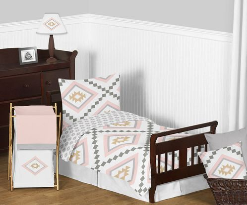 Blush Pink and Grey Boho and Tribal Aztec Girl Toddler Kid Childrens Bedding Set by Sweet Jojo Designs - 5 pieces Comforter, Sham and Sheets - Click to enlarge