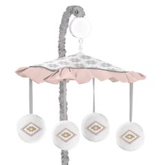 Blush Pink and Grey Boho and Tribal Musical Baby Crib Mobile for Aztec Collection by Sweet Jojo Designs