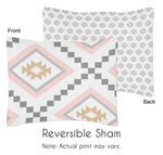 Blush Pink and Grey Boho and Tribal Standard Pillow Sham for Aztec Collection by Sweet Jojo Designs