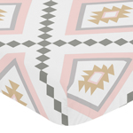 Blush Pink and Grey Boho Baby or Toddler Fitted Crib Sheet for Aztec Collection by Sweet Jojo Designs