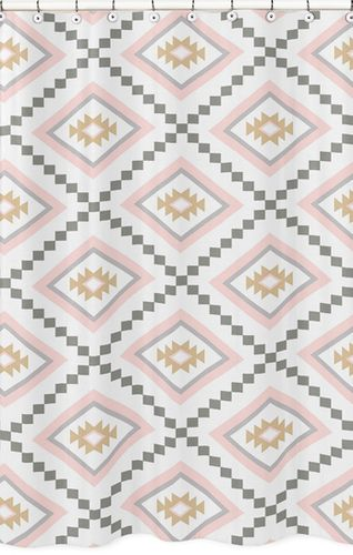 Blush Pink and Grey Boho Bathroom Fabric Bath Shower Curtain for Aztec Collection by Sweet Jojo Designs - Click to enlarge