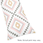 Blush Pink and Grey Boho Body Pillow Case Cover for Aztec Collection by Sweet Jojo Designs (Pillow Not Included)