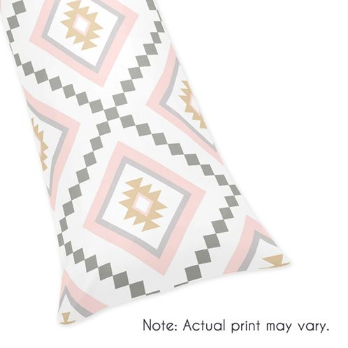 Blush Pink and Grey Boho Body Pillow Case Cover for Aztec Collection by Sweet Jojo Designs (Pillow Not Included) - Click to enlarge