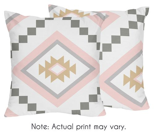 Blush Pink and Grey Boho Decorative Accent Throw Pillows for Aztec Collection by Sweet Jojo Designs - Set of 2 - Click to enlarge