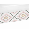 Blush Pink and Grey Boho Girl Crib Bed Skirt Dust Ruffle for Aztec Collection by Sweet Jojo Designs