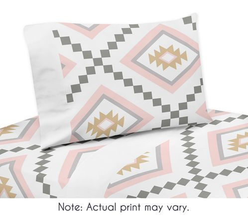 Blush Pink and Grey Boho Queen Sheet Set for Aztec Collection by Sweet Jojo Designs - 4 piece set - Click to enlarge