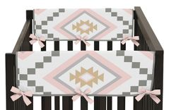 Blush Pink and Grey Boho Side Crib Rail Guards Baby Teething Cover Protector Wrap for Aztec Collection by Sweet Jojo Designs - Set of 2