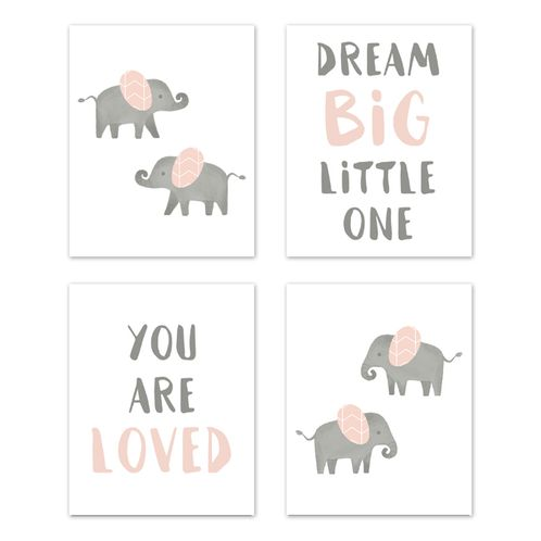 Blush Pink and Grey Wall Art Prints Room Decor for Baby, Nursery, and Kids for Watercolor Elephant Safari Collection by Sweet Jojo Designs - Set of 4 - Dream Big You are Loved - Click to enlarge
