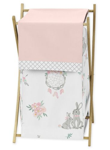 Blush Pink and Grey Woodland Boho Dream Catcher Arrow Baby Kid Clothes Laundry Hamper for Gray Bunny Floral Collection by Sweet Jojo Designs - Watercolor Rose Flower - Click to enlarge