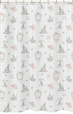 Blush Pink and Grey Woodland Boho Dream Catcher Arrow Bathroom Fabric Bath Shower Curtain for Gray Bunny Floral Collection by Sweet Jojo Designs - Watercolor Rose Flower
