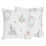 Blush Pink and Grey Woodland Boho Dream Catcher Arrow Decorative Accent Throw Pillows for Gray Bunny Floral Collection by Sweet Jojo Designs - Set of 2 - Watercolor Rose Flower