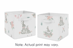 Blush Pink and Grey Woodland Boho Dream Catcher Arrow Foldable Fabric Storage Cube Bins Boxes Organizer Toys Kids Baby Childrens for Gray Bunny Floral Collection by Sweet Jojo Designs - Set of 2 - Watercolor Rose Flower