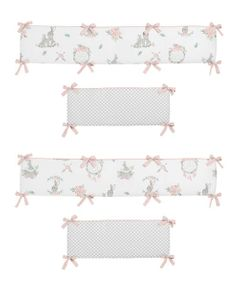 Blush Pink and Grey Woodland Boho Dream Catcher Arrow Girl Baby Nursery Crib Bumper Pad for Gray Bunny Floral Collection by Sweet Jojo Designs - Watercolor Rose Flower