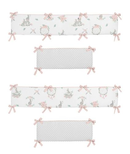 Blush Pink and Grey Woodland Boho Dream Catcher Arrow Girl Baby Nursery Crib Bumper Pad for Gray Bunny Floral Collection by Sweet Jojo Designs - Watercolor Rose Flower - Click to enlarge