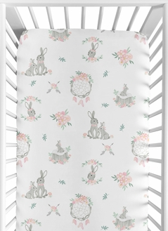 Blush Pink and Grey Woodland Boho Dream Catcher Arrow Girl Baby or Toddler Nursery Fitted Crib Sheet for Gray Bunny Floral Collection by Sweet Jojo Designs - Watercolor Rose Flower