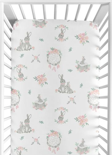 Blush Pink and Grey Woodland Boho Dream Catcher Arrow Girl Baby or Toddler Nursery Fitted Crib Sheet for Gray Bunny Floral Collection by Sweet Jojo Designs - Watercolor Rose Flower - Click to enlarge