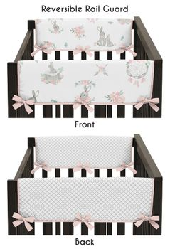 Blush Pink and Grey Woodland Boho Dream Catcher Arrow Girl Side Crib Rail Guards Baby Teething Cover Protector Wrap for Gray Bunny Floral Collection by Sweet Jojo Designs - Set of 2 - Watercolor Rose Flower