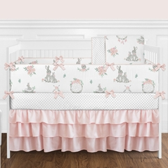 Blush Pink and Grey Woodland Boho Dream Catcher Arrow Gray Bunny Floral Baby Girl Nursery Crib Bedding Set with Bumper by Sweet Jojo Designs - 9 pieces - Watercolor Rose Flower