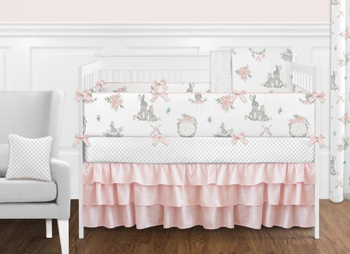 Blush Pink and Grey Woodland Boho Dream Catcher Arrow Gray Bunny Floral Baby Girl Nursery Crib Bedding Set with Bumper by Sweet Jojo Designs - 9 pieces - Watercolor Rose Flower - Click to enlarge
