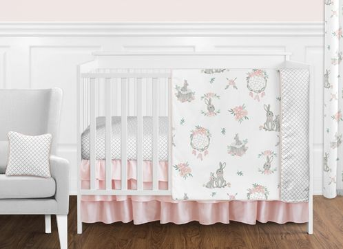 Blush Pink and Grey Woodland Boho Dream Catcher Arrow Gray Bunny Floral Baby Girl Nursery Crib Bedding Set without Bumper by Sweet Jojo Designs - 11 pieces - Watercolor Rose Flower - Click to enlarge