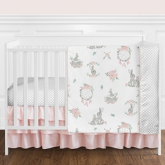 Blush Pink and Grey Woodland Boho Dream Catcher Arrow Gray Bunny Floral Baby Girl Nursery Crib Bedding Set without Bumper by Sweet Jojo Designs - 4 pieces - Watercolor Rose Flower
