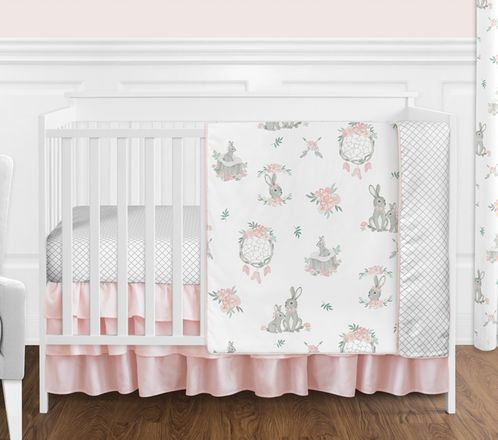 Blush Pink and Grey Woodland Boho Dream Catcher Arrow Gray Bunny Floral Baby Girl Nursery Crib Bedding Set without Bumper by Sweet Jojo Designs - 4 pieces - Watercolor Rose Flower - Click to enlarge