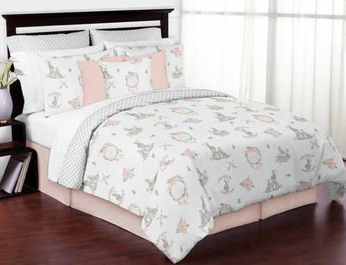 Blush Pink and Grey Woodland Boho Dream Catcher Arrow Gray Bunny Floral Girl Full / Queen Size Kid Childrens Bedding Comforter Set by Sweet Jojo Designs - 3 pieces - Watercolor Rose Flower - Click to enlarge