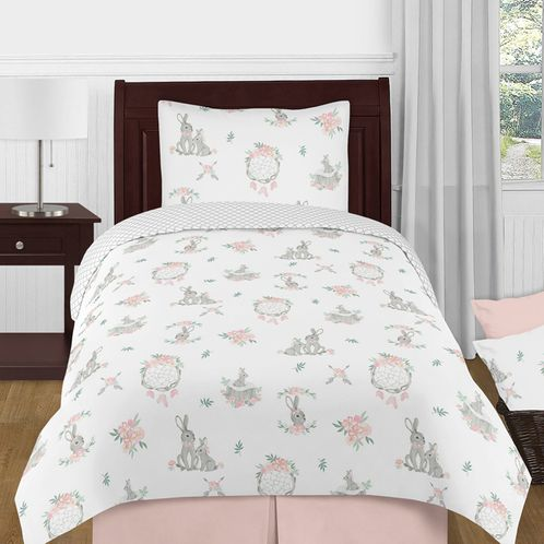 Blush Pink and Grey Woodland Boho Dream Catcher Arrow Gray Bunny Floral Girl Twin Size Kid Childrens Bedding Comforter Set by Sweet Jojo Designs - 4 pieces - Watercolor Rose Flower - Click to enlarge