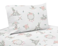 Blush Pink and Grey Woodland Boho Dream Catcher Arrow Queen Sheet Set for Gray Bunny Floral Collection by Sweet Jojo Designs - 4 piece set - Watercolor Rose Flower