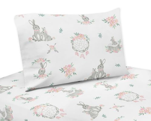 Blush Pink and Grey Woodland Boho Dream Catcher Arrow Queen Sheet Set for Gray Bunny Floral Collection by Sweet Jojo Designs - 4 piece set - Watercolor Rose Flower - Click to enlarge