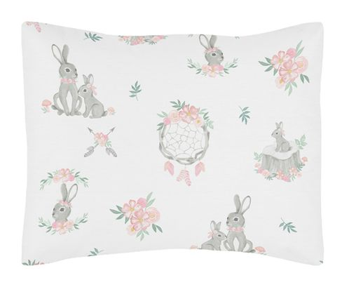 Blush Pink and Grey Woodland Boho Dream Catcher Arrow Standard Pillow Sham for Gray Bunny Floral Collection by Sweet Jojo Designs - Watercolor Rose Flower - Click to enlarge