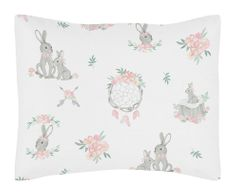 Blush Pink and Grey Woodland Boho Dream Catcher Arrow Standard Pillow Sham for Gray Bunny Floral Collection by Sweet Jojo Designs - Watercolor Rose Flower