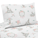 Blush Pink and Grey Woodland Boho Dream Catcher Arrow Twin Sheet Set for Gray Bunny Floral Collection by Sweet Jojo Designs - 3 piece set - Watercolor Rose Flower