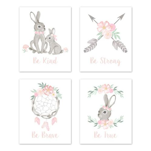 Blush Pink and Grey Woodland Boho Dream Catcher Arrow Wall Art Prints Room Decor for Baby, Nursery, and Kids for Gray Bunny Floral Collection by Sweet Jojo Designs - Set of 4 - Watercolor Rose Flower - Click to enlarge