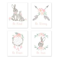 Blush Pink and Grey Woodland Boho Dream Catcher Arrow Wall Art Prints Room Decor for Baby, Nursery, and Kids for Gray Bunny Floral Collection by Sweet Jojo Designs - Set of 4 - Watercolor Rose Flower