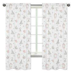 Blush Pink and Grey Woodland Boho Dream Catcher Arrow Window Treatment Panels Curtains for Gray Bunny Floral Collection by Sweet Jojo Designs - Set of 2 - Watercolor Rose Flower