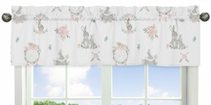 Blush Pink and Grey Woodland Boho Dream Catcher Arrow Window Treatment Valance for Gray Bunny Floral Collection by Sweet Jojo Designs - Watercolor Rose Flower