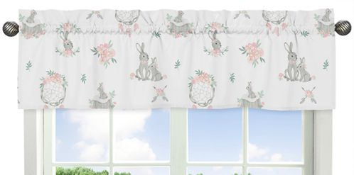 Blush Pink and Grey Woodland Boho Dream Catcher Arrow Window Treatment Valance for Gray Bunny Floral Collection by Sweet Jojo Designs - Watercolor Rose Flower - Click to enlarge