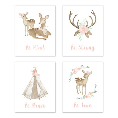 Blush Pink and Mint Wall Art Prints Room Decor for Baby, Nursery, and Kids for Boho Woodland Deer Floral Collection by Sweet Jojo Designs - Set of 4 - Be Kind, Be Strong, Be Brave, Be True - Click to enlarge