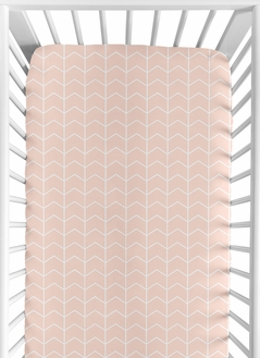Blush Pink and White Chevron Arrow Baby or Toddler Fitted Crib Sheet for Watercolor Elephant Safari Collection by Sweet Jojo Designs